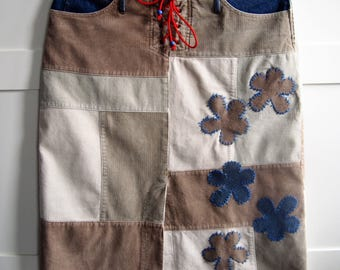 Rib-denim skirt, 70ties look skirt, upcylcled skirt, OOAK skirt, spiring skirt, patchwork skirt,skirts, womans clothing, boho skirt, hippy