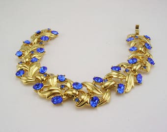 Jackie Kennedy GP Bracelet - 24K Leaf Design with Blue Stones, Box and Certificate - Sz 7 or 8