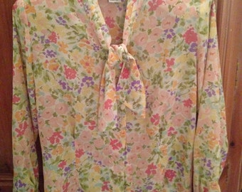 Evan Picone Watercolor Floral Ladies Bow Blouse