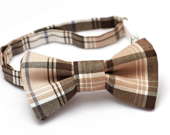 Baby Bow Tie - Brown/Tan/White Plaid Bow Tie,  Brown Baby Boy Bow Tie, Bow Ties for Boys, Toddler Bow Tie, Baby Boy Bowtie, Plaid Bowtie