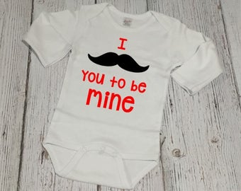Valentines Day Bodysuit - Baby Valentine - Valentines Day Outfit - Baby Boy Valentine - Valentine Outfit - I Mustache You To Be Mine