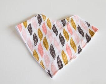 Bandana Bib - Pink, Mustard, Grey Feather