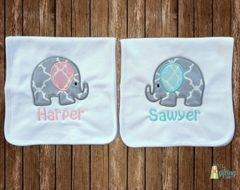 Monogrammed Burp Cloth Set, Two Personalized Baby Burp Cloths, Appliqué Burp Cloths, Twin Baby Gift, Baby Shower Gift for Twins