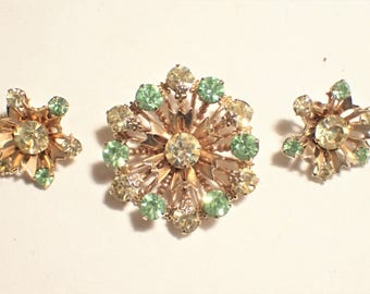 Green and Clear Rhinestone Flower Brooch and Clip Earrings Set