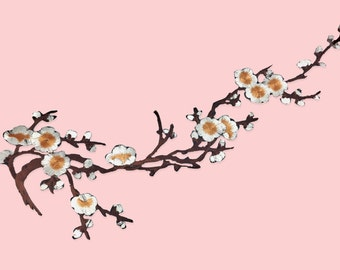 Pièce patch floral cherry blossom yellow white XXL / DIY ironfix appliques and coat textile / malicious shop