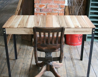 Rustic Reclaimed Wood Desk / Table With Iron Legs Custom Order Available