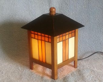 Stained Glass Lantern - Accent Lamp - Patio Lamp - Deck Lamp