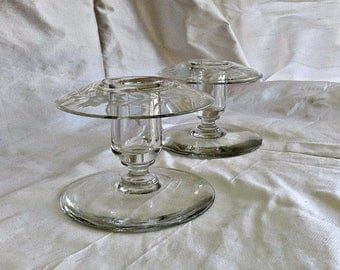 Antique Crystal Engraved Candlesticks by HP Sinclaire Pair Ca 1910 Vintage