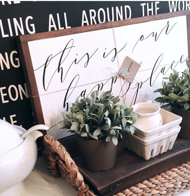 HAPPY PLACE, Painted wood sign - S,M,L Sizes available  | Wall decor (Rustic Chic, Modern Farmhouse, Fixer Upper)
