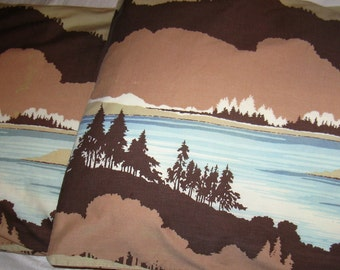 Vintage 70s Pillowcase Set of 2, Mountain Lake in Shades of Brown and Blue 20 x 33 1/2""