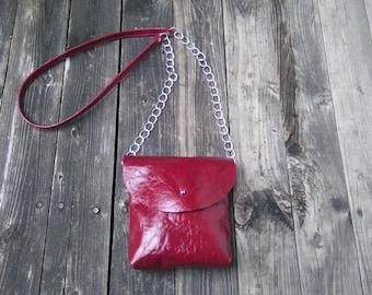 Leather handbag crossbody shoulder Sheepskin Burgundy Party