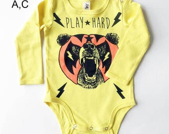 Yellow Mexican Wrestling Bear Long Sleeve Baby Grow - Unisex Alternative Wrestler Rockabilly Bodysuit 0-3, 3-6, 6-12 month
