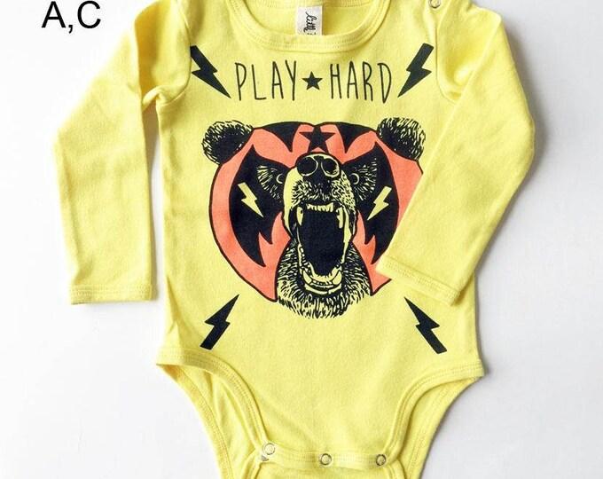 Yellow Mexican Wrestling Bear Long Sleeve Baby Grow - Unisex Alternative Wrestler Rockabilly Bodysuit 0-3, 3-6, 6-12 month