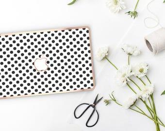 Platinum Edition White Polka with w/Rose Gold Edge Hybrid Hard Case for Apple Mac Air & Mac Retina , New Macbook 2016