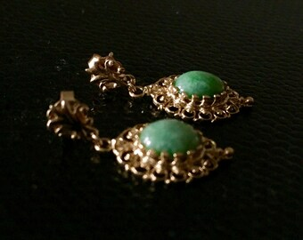 Antique Victorian 14 k Gold Filigree Jade Earrings
