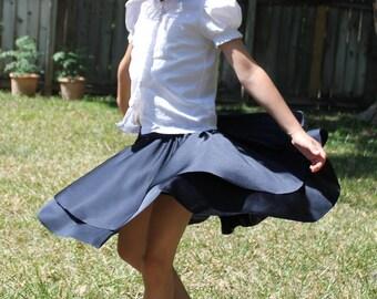 Navy Circle Skirt -  Navy school uniform skirt - navy twirl skirt