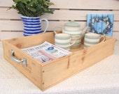 Chateau Gloria - Large wooden tray -  wine crate - breakfast - tea - housewarming present - rustic - vintage - wine lover gift -