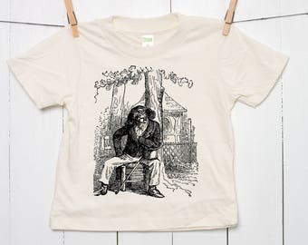 Dog Professor Caricature Kid's 100% Certified Organic Cotton T Shirt Screen Printed in Toddler and Youth Sizes Pet Animal