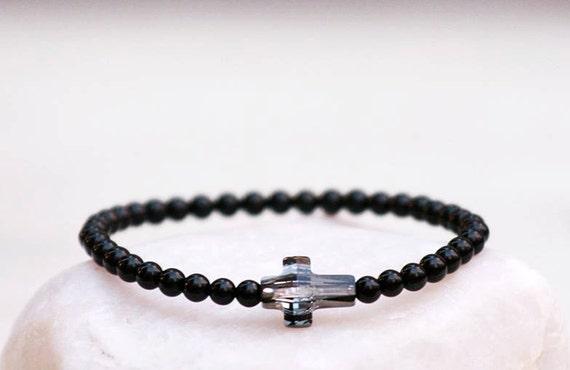 Cross bracelet,Swarovski bracelet, Agate bracelet, Black Agates Bracelet,Gemstones bracelet,Crystal balance protection bracelet,Gift for her