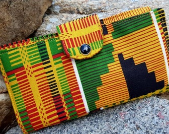 African Checkbook Cover, Fabric Coupon  Wallet