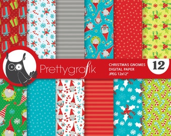 80% 0FF SALE Christmas gnomes digital paper, christmas gnomes papers commercial use, scrapbook papers, scrapbooking papers - PS830