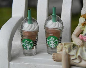 Miniature frappuccino Starbucks cups, set of 2, fairy garden miniature, iced coffee, fairy drinks, accessories accessory for mini garden