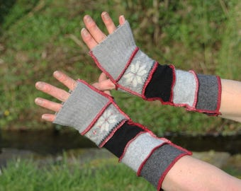 Upcycled Armwarmers, Wristwarmers, Fingerless Gloves. Handmade in UK from Recycled Wool Knitwear. Black, Grey Red. Christmas Gift OOAK