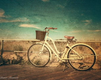 Ocean Grove Bicycle Wood Print, NJ shore, bicycle, beach, New Jersey,summer,boardwalk, God's Square mile