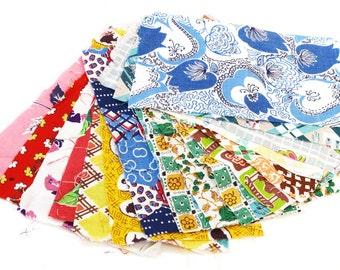 Vintage Fabric Pieces · Vintage Fabric · Retro Fabric · Vintage Feedsack Fabric · 16 pieces · Bag 5