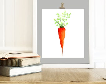 Vegetable Painting - Watercolor Print - Food Art - Veggie Art - Carrot Painting, Food Painting, Kitchen Art, Veggie Print - Carrot Picture