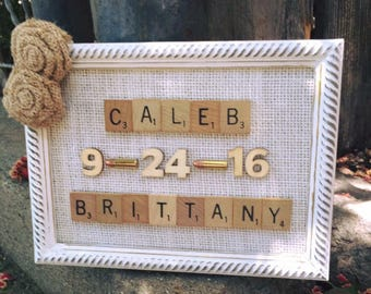 Rustic wedding anniversary scrabble frame decor -