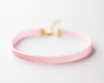 Pink velvet choker necklace