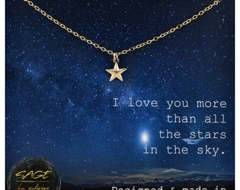 14K Gold Star Necklace, Love You More Jewelry, Love You to the Moon and Back Necklace, Gold Star Charm, Love Gift, I Love You Gift for Mom
