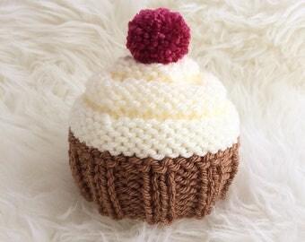 Cupcake baby hat newborn baby girl cute cake baby hat photo prop ready to ship