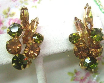 Vintage Green and Yellow Rhinestone Clip Earrings....Sherman Style...Circa 1950s...Citrine/Topaz/Green Rhinestones
