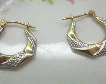 Vintage 10K Gold Hoop Earrings...10K White Gold Textured Swirl Pattern...Latch Back Fasteners...Wedding...Birthday