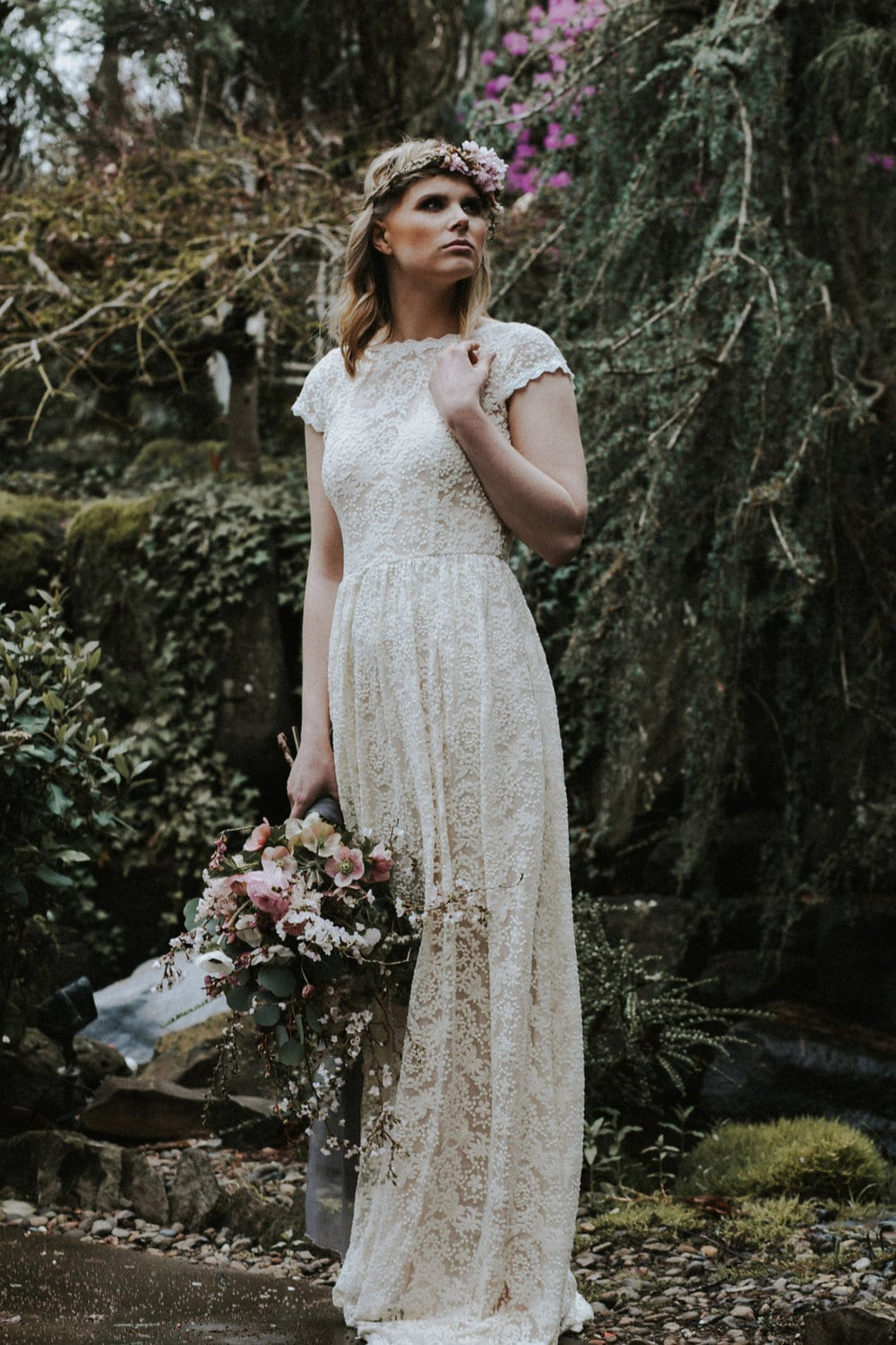 Ivory or white lace bohemian backless wedding gown simple and for Have wedding dress made