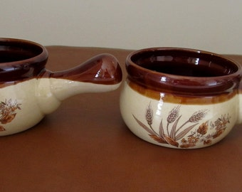Two French Onion Soup Bowls, Brown Glaze, Pottery, Wheat Pattern, Made in Japan