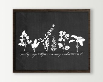 Chic Kitchen Decor Wall Art Print with cooking herbs Parsley, Sage, Thyme, Rosemary, Cilantro and Basil - choose color - chalkboard look