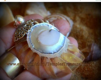 Sale Natural Nautilus shell slice/ 925 Floral Bali silver with clear resin back fill focal bead pendant Sacred Geometry (item NSR-C)