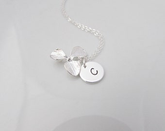Orchid Necklace, Flower Necklace, Orchid Flower Necklace, Initial Necklace, Gift for Girls, Bridesmaid Gifts, Bridesmaid Necklace, UK Seller