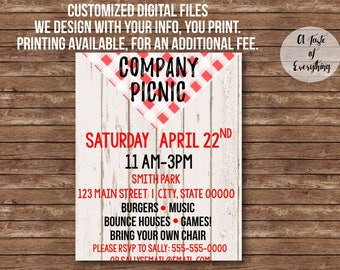 Flyer design-- Digital files- Custom design, Company picnic, community, family reunion, bbq, barbeque, event, end of the year company bbq