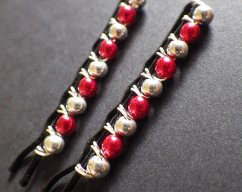 Silver and Red- Christmas Accessory- Hair Style Accessories- Hair Jewelry- Beaded Bobby Pins- Hair Pins- Gift for Her- Woman- Teen Girls