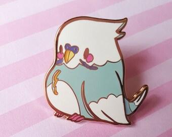 Lil Birb Hard Enamel Pin | Kawaii Budgie Parakeet Dainty Gold Plated Enamel Pin
