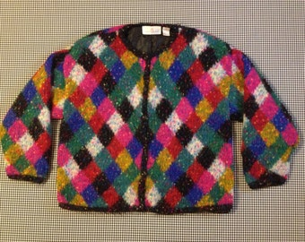 1990's, satin lined, fuzzy cardigan/jacket, in colorful diamond design, Women's size XL