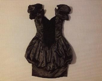 1980's, black velvet and satin, bubble skirt, puffy shoulder, dress, Women's size 9