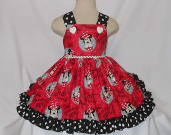 Minnie Mouse Dress, Disney Minnie Mouse Dress, Custom Boutique Minnie Mouse Dress, Handmade Minnie Mouse Dress, Birthday Minnie, Too Cute