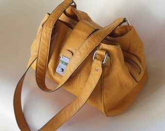 Yellow Faux Leather Bag, Yellow Vegan HandBag,  Mustard Yellow Purse, Yellow Shoulder Bag or Handbag, Yellow Vegan Leather Shoulder Bag