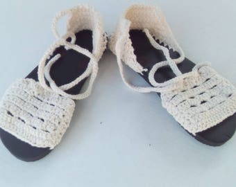 Crochet Flip Flop Sole Cotton Summer Scallop Edge Sandal beige black