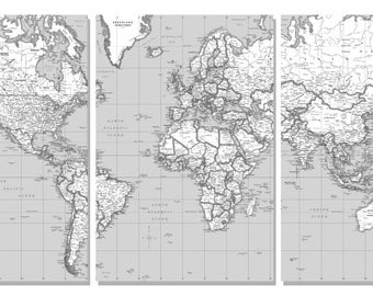 World usa specialty maps personilization by coolowlmaps on etsy world wall map black white split in 3 panels each panel is 24wx36 gumiabroncs Images